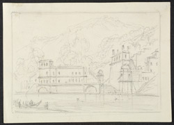The main ghat down to the river, Hardwar (U.P.). 7 April 1789
